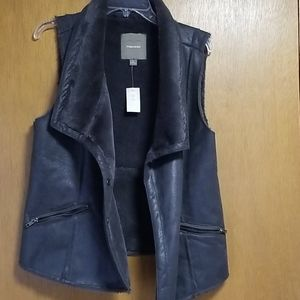 Maurices large faux fur black shimmery vest NWT